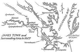 Map of 1607 Virginia, showing Jamestown and Indian Tribes