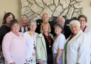 Back row: Sandra Orozco, Chaplain; David Grinnell, Treasurer and Secretary Pro Tem; Jim Shepherd, Historian; Jim McCall, Councilor; and, Martha Pace Greshan, Past Governor and Parliamentarian. Front Row: Marty Sommercamp, Membership Chair; Anita Guenin, Councilor Scarlett Stahl, Governor; Julie Plemmons, Lieutenant Governor; Donna Chilton Derrick, Past Governor and Councilor.